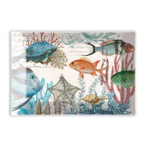 Michel Design Works Glass Trinket / Soap Dish Sea Life - NEW