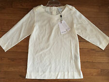 Lacoste Silk Vanillier Ivory 3/4 Sleeve Fashion Top Shirt Blouse Women's 2 new