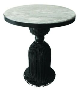 Black Twisted Iron Tassel Table with Gray Marble Top