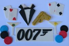 JAMES BOND edible cake topper decoration kit GOLDEN GUN martini tuxedo 007 logo
