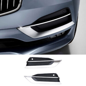 Fit For Volvo S90 2017-2021 Chrome Front Fog Light Lamp Cover Trim Replace 2pcs