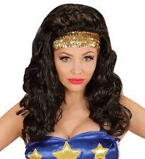 Ladies Black Wonder Woman Wig Super Hero Girl Lady Marvel American Fancy Dress