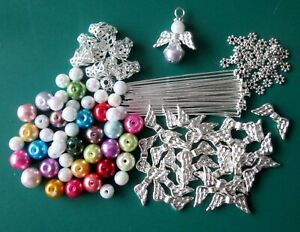 12 / 24 GLASS PEARL BEAD GUARDIAN ANGELS / FAIRY CHARMS / WINGS - DIY KIT