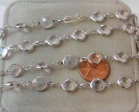 "Silver tone Bezel Clear 9 mm Glass Crystal Link 36"" Chain Necklace  11i 67"