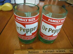 Vintage Unique Custom made Dr. Pepper Glasses x 6 circa 1980's Extremely Unique