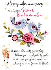 Hermana & brother-in-Law Tarjeta de felicitación de aniversario segunda naturaleza sólo para decir tarjeta
