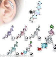 Gem Tragus / Cartilage / Helix Bar - Ear Stud ~ 6mm x 1.2mm ~ 5 Crystals