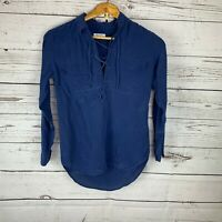 Equipment Femme 100% Silk Long Sleeve Blue Blouse Tie Closure With Pockets XS