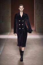 Fur V-Neckline Patternless Coats & Jackets for Women