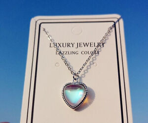 Blue Heart Stone Pendant 925 Sterling Silver Chain Necklace Women Jewellery Gift