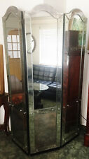 ANTIQUE VENETIAN GLASS TRI-FOLD FLOOR  MIRROR