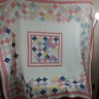 """USED Vintage Patchwork Quilt 77.5"""" x 68"""" Twin"""