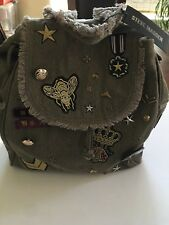 STEVE MADDEN  BWilson, Olive Green Canvas Cotton Patched Rucksack Backpack