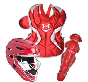 Under Armour PTH Victory Baseball Catchers Gear Combo Kit Set Red Ages 9-12