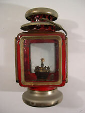 "Nice Vintage Tin & Glass OIL Lamp (RED) w/ Handle 8"" Made In Hong Kong"