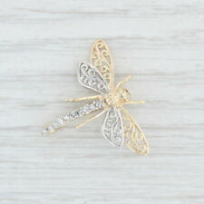 Diamond Dragonfly Brooch - 14k Yellow White Gold Openwork Pin