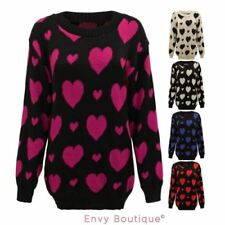 Hip Length Acrylic Heart Jumpers & Cardigans for Women