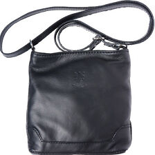 Crossbody Bag Italian Genuine Leather Hand made in Italy Florence 8685 bk
