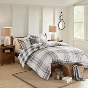 4pc Grey & White Plaid/Checkered Cotton Reversible Comforter Set AND Decorative