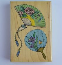 Asian Fans Wooden Mounted Rubber Stamp Stampede#3551H Iris Butterfly Dragonfly