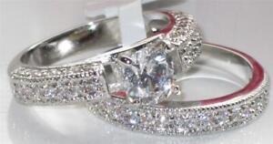 Engagement ring set cubic zirconia 2 carat wedding band silver bridal pcs X016
