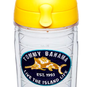 NEW TOMMY BAHAMA 24 OZ TERVIS TUMBLER Island Life Floral Marlin w/ Yellow Top