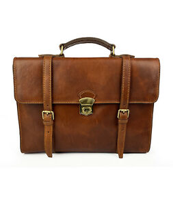 Briefcase for man, Genuine Leather, Handmade, High quality , Made in Italy Brown