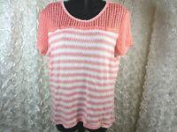 Janeric Women's XL blouse Pink Striped Knit Crochet Short Sleeve Shirt stretch