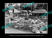 OLD LARGE HISTORIC PHOTO MILNE BAY PNG THE WWII AUSTRALIAN STORES BUILDING 1942