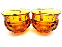 VINTAGE 1960s TWO AMBER GLASS CUPS KINGS CROWN THUMBPRINT INDIANA GLASS COMPANY