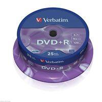 25 Verbatim DVD+R 4.7 GB (16x) 120Min Spindle/Cake Box 43500