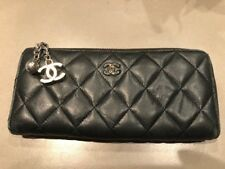 Auth CHANEL Long Wallet Calf Leather Black