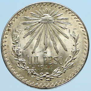 1944 MEXICO Eagle Liberty Cap Large Vintage OLD Silver Peso Mexican Coin i97392