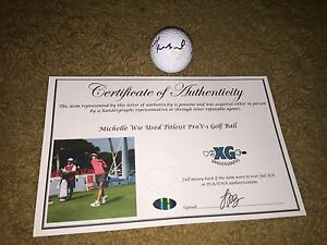 MICHELLE WIE LPGA SIGNED AUTOGRAPHED GOLF BALL (1) -COA EXACT PROOF HOLOGRAMS