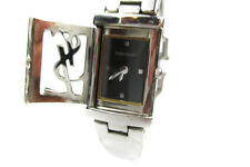 Auth Yves Saint Laurent Black Dial Stainless Steel Quartz Ladies Watch YW9009L