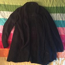 Eileen Fisher 100% Merino Wool Black Open Front Shrug Cardigan Sweater Size XL