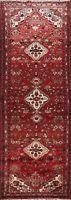 Vintage RED Geometric Hamedan Hand-knotted Runner Rug Wool Oriental Hallway 3x10
