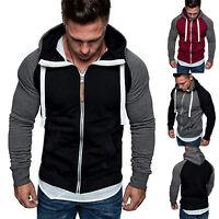 Men's Hoodie Gym Fitness Muscle Jacket Casual Cotton Hoody Hooded Coat Outwear
