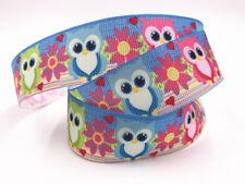 1-100 Yard 1'' 25MM rainbow owl Printed Grosgrain Ribbon Hair Bow Sewing Ribbon