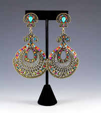 NEW LARGE GENUINE MULTICOLOR CRYSTALS FASHION PIERCED EARRINGS IN ANTIQUE BRONZE