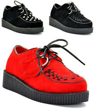 KIDS BOYS GIRLS PLATFORM WEDGE LACE UP GOTH PUNK CREEPERS SHOES BOOTS SIZE 10-2