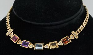 Italian designer vintage heavy 18K gold 22.70CTW diamond/Rainbow gem necklace