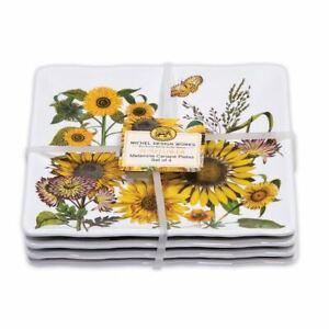 "Set / 4 Michel Design Works Melamine 6""  Canape Plates Sunflower - NEW"