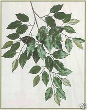 12 FICUS BRANCH TREE SPRAY GREEN ARTIFICIAL PLANT FLOWER FAKE LEAVES LEAF SILK