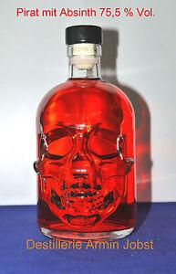 (EUR 69,00 / L) Roter Pirat Flasche 0,5 Liter  Absinth Spirituose 75,5 % Vol.