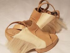 LD Tuttle Wedge Platform Sandals Wrap Nude Pony Hair Leather 8-8.5 Funky 39.5
