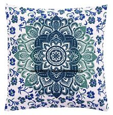 Ombre Mandala Print Indian Cotton Cushion Cover Home Sofa Throw Decor Sham 16""