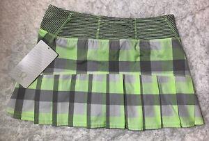 Lululemon NWT Sz 6 Run: Speed Skirt - Checkmate Faded Zap Rare! HTF! Yellow Gray