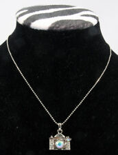 "Necklace, Camera - Silver w/Crystal lens set w/18"" chain"