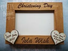 Personalised hand made engraved christening photo frame gift
